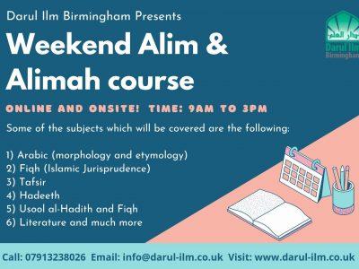 Weekend  Alim & Alimah Course
